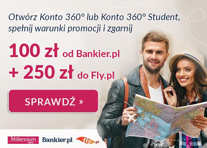 Odbierz premię 100 zł od Bankier.pl oraz 250 zł od Fly.pl!