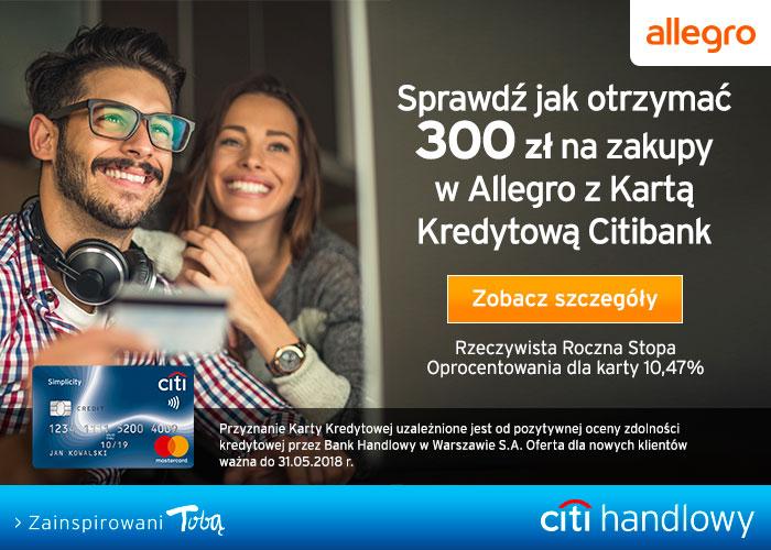 Załóż kartę kredytową w Citibank i odbierz 300 zł na zakupy do Allegro.