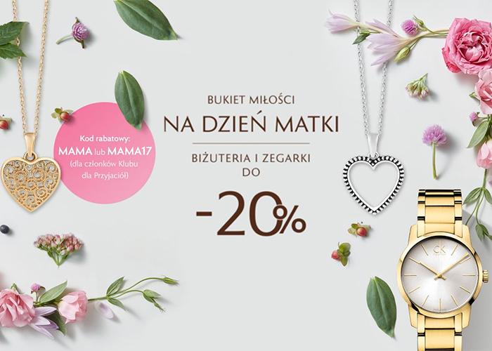 Z okazji Dnia Matki w W. Kruk PL do -20% zniżki na biżuterię i zegarki.