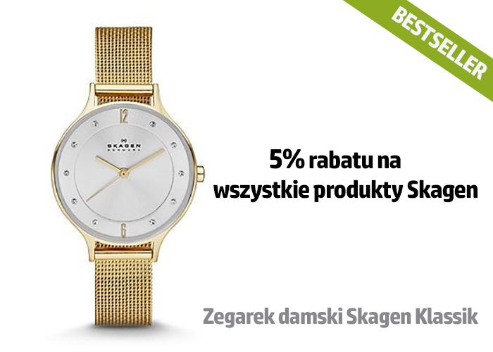 5% rabatu na wszystkie produkty Skagen (zegarki i biżuteria)