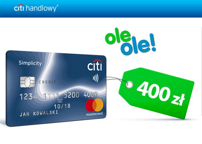 Załóż kartę kredytową w Citibank i odbierz 400 zł na zakupy w OleOle!