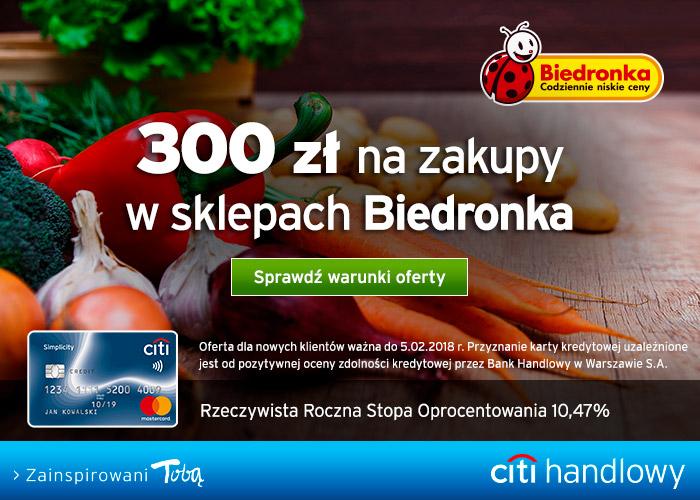 Załóż kartę kredytową w Citibank i odbierz 300 zł na zakupy do Biedronki.