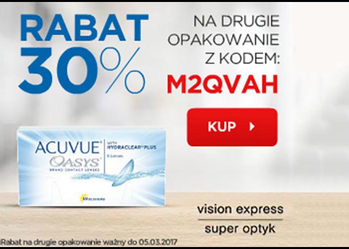 Rabat 30% na drugie opakowanie soczewek z kodem