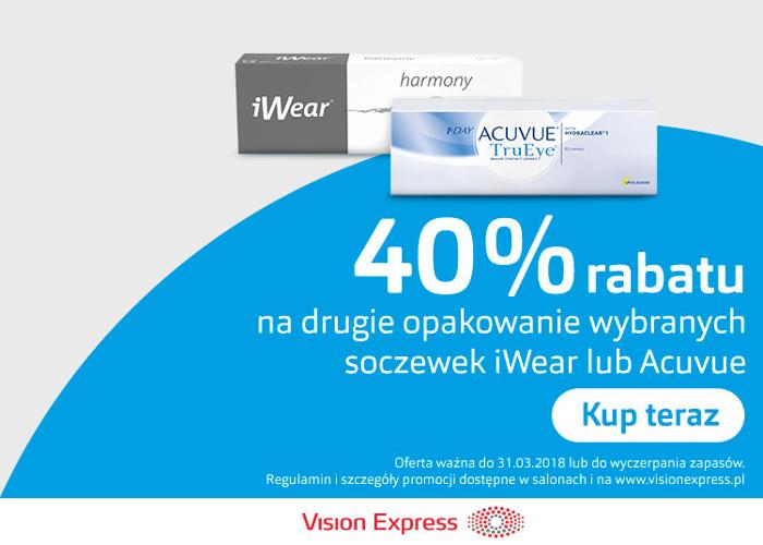40% rabatu na drugie opakowanie wybranych soczewek iWear lub Acuvue!