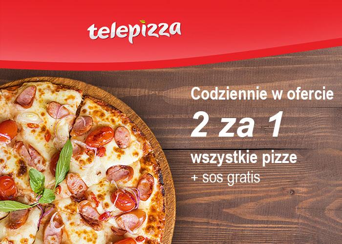 Nie wiesz co na obiad? Kup 2 pizze w cenie 1 + sos gratis w Telepizza