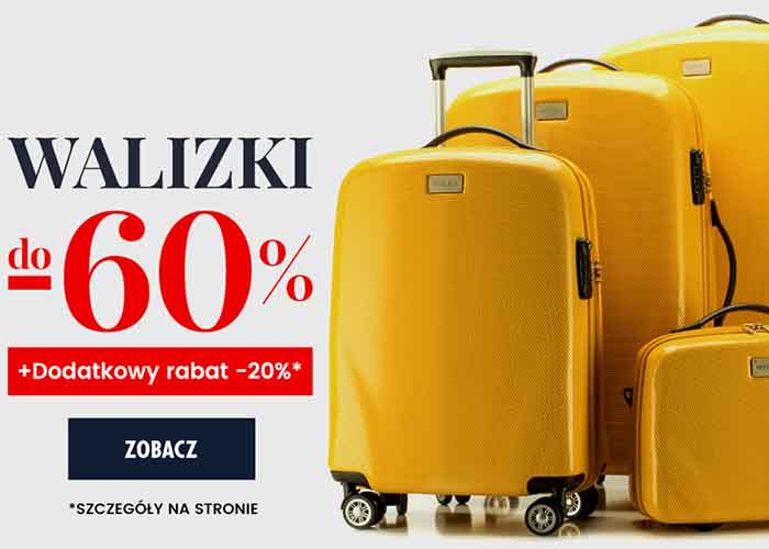 Dodatkowy rabat 20% na walizki przy zakupie min. 2 sztuk!