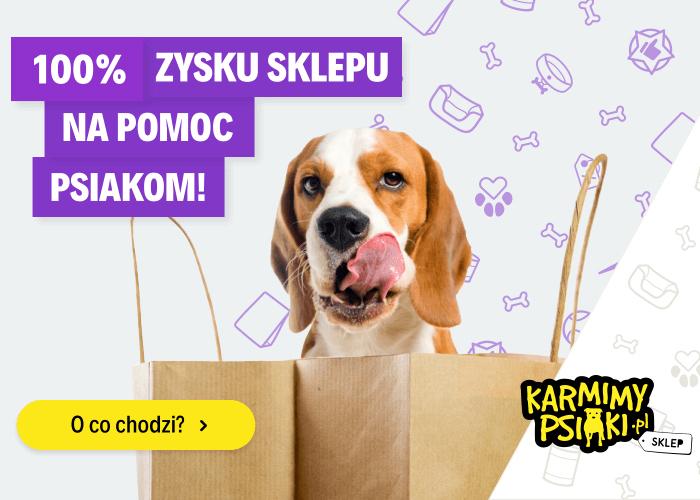 100% zysku sklepu na pomoc bezdomnym psiakom. Kupuj karmę i pomagaj już dziś!